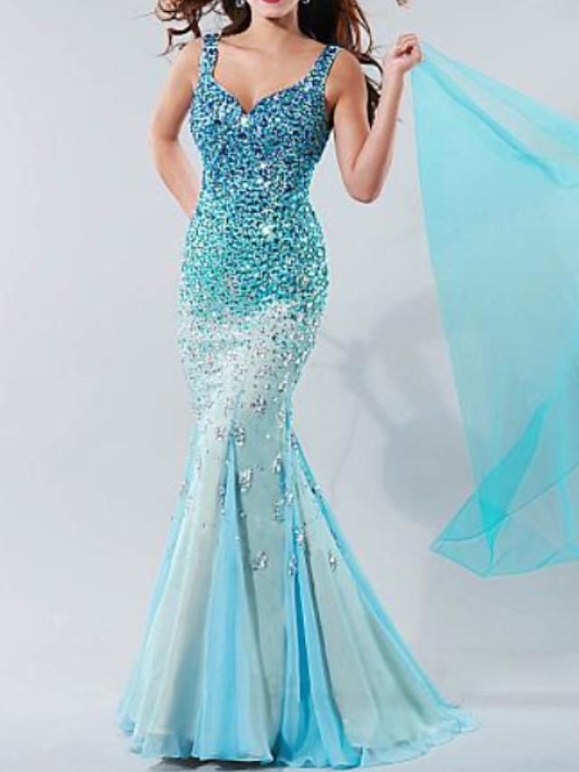 Mermaid / Trumpet Open Back Formal Evening Dress Spaghetti Strap Sleeveless Sweep / Brush Train Chiffon with Pleats Crystals 2020