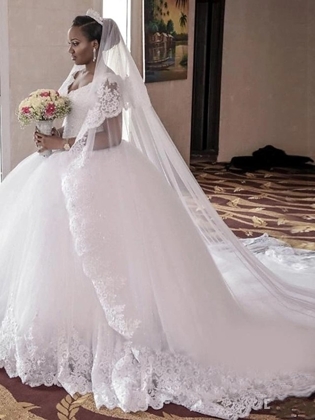 Ball Gown Wedding Dresses V Neck Cathedral Train Lace Tulle Lace Over Satin Regular Straps Beautiful Back Plus Size Wedding Dress with Appliques 2020
