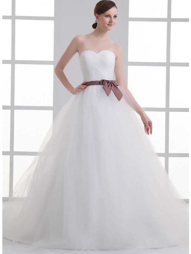 A-Line Wedding Dresses Sweetheart Neckline Court Train Lace Satin Tulle Strapless with Sashes / Ribbons Bow(s) Ruched 2020