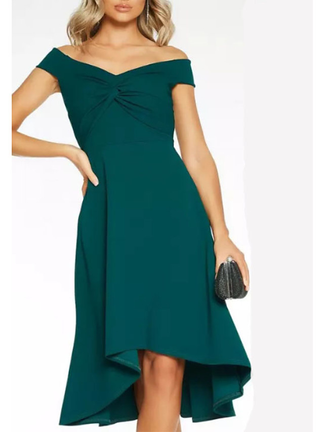 A-Line Hot Wedding Guest Cocktail Party Dress Off Shoulder Short Sleeve Asymmetrical Jersey with Ruched 2021