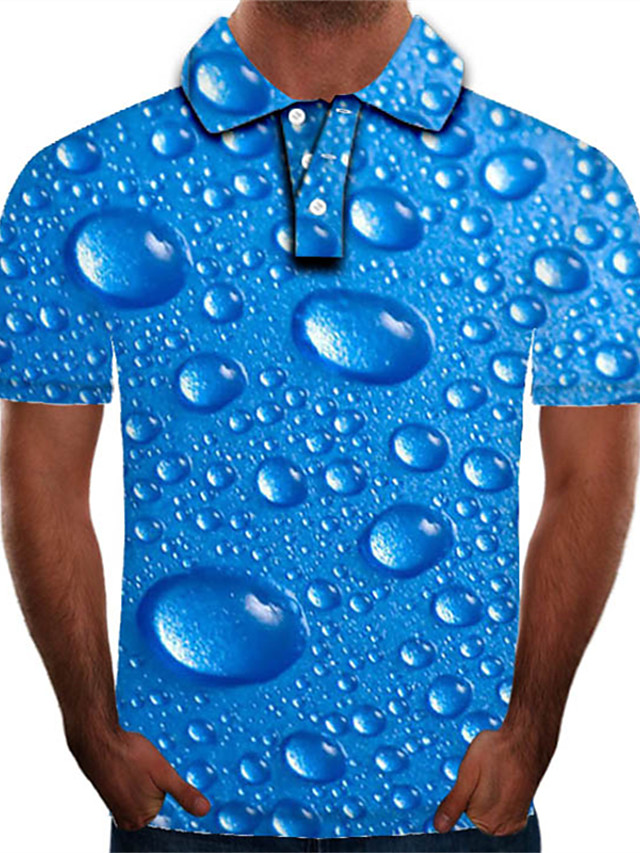 Men's Golf Shirt Graphic 3D Plus Size Print Short Sleeve Daily Tops Streetwear Exaggerated Shirt Collar Blue