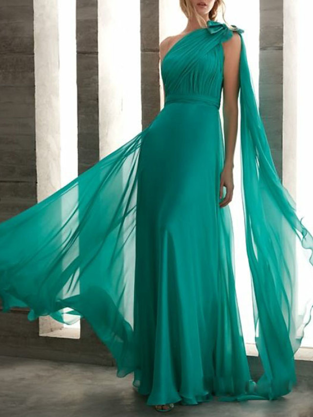Sheath / Column Elegant Turquoise / Teal Wedding Guest Formal Evening Dress One Shoulder Sleeveless Floor Length Chiffon with Bow(s) Ruched Draping 2020
