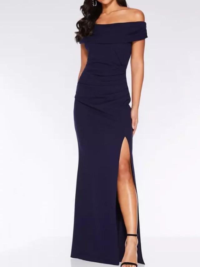 Sheath / Column Off Shoulder Maxi Satin Bridesmaid Dress with Split Front