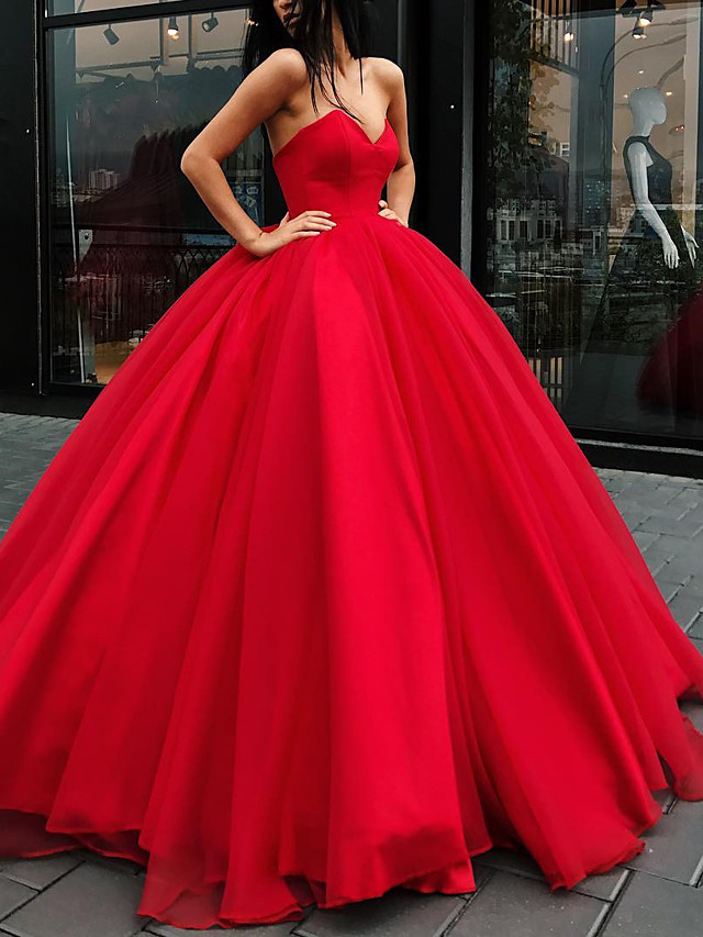 Ball Gown Wedding Dresses Strapless Floor Length Organza Strapless Plus Size Wedding Dress Red with Draping 2021