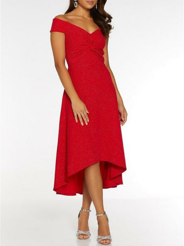 A-Line Elegant Holiday Cocktail Party Valentine's Day Dress Off Shoulder Short Sleeve Asymmetrical Polyester with 2021