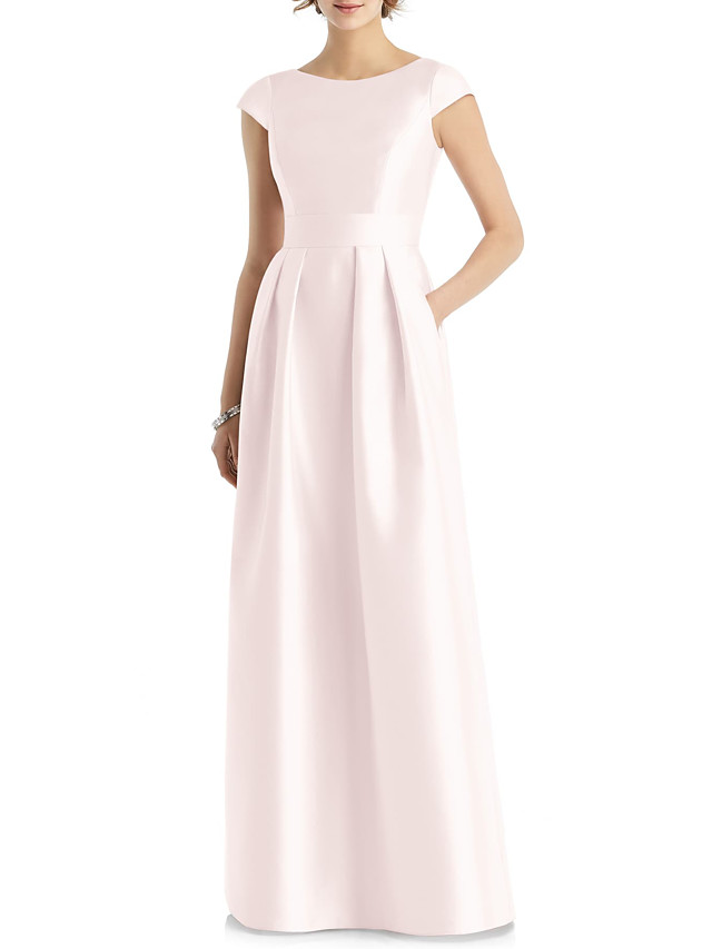 A-Line Jewel Neck Floor Length Satin Bridesmaid Dress with Sash / Ribbon / Pleats