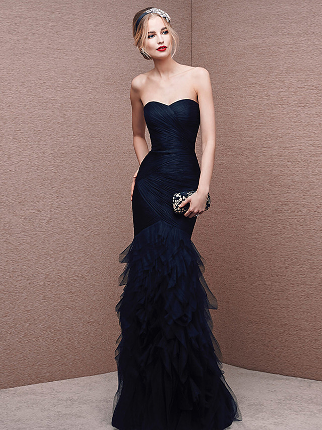 Mermaid / Trumpet Sexy Formal Evening Dress Strapless Sleeveless Floor Length Tulle with Ruched 2020