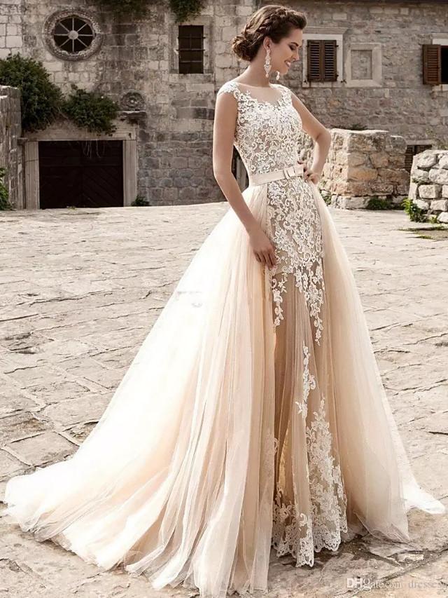 Mermaid / Trumpet Wedding Dresses Jewel Neck Court Train Lace Tulle Cap Sleeve Modern Detachable with Appliques 2020