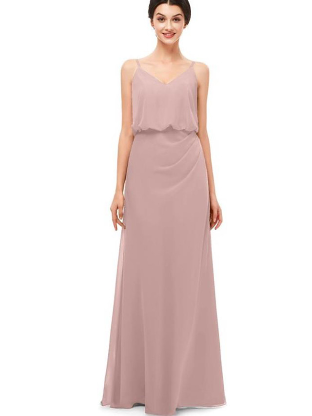 A-Line Spaghetti Strap Floor Length Chiffon Bridesmaid Dress with Ruching