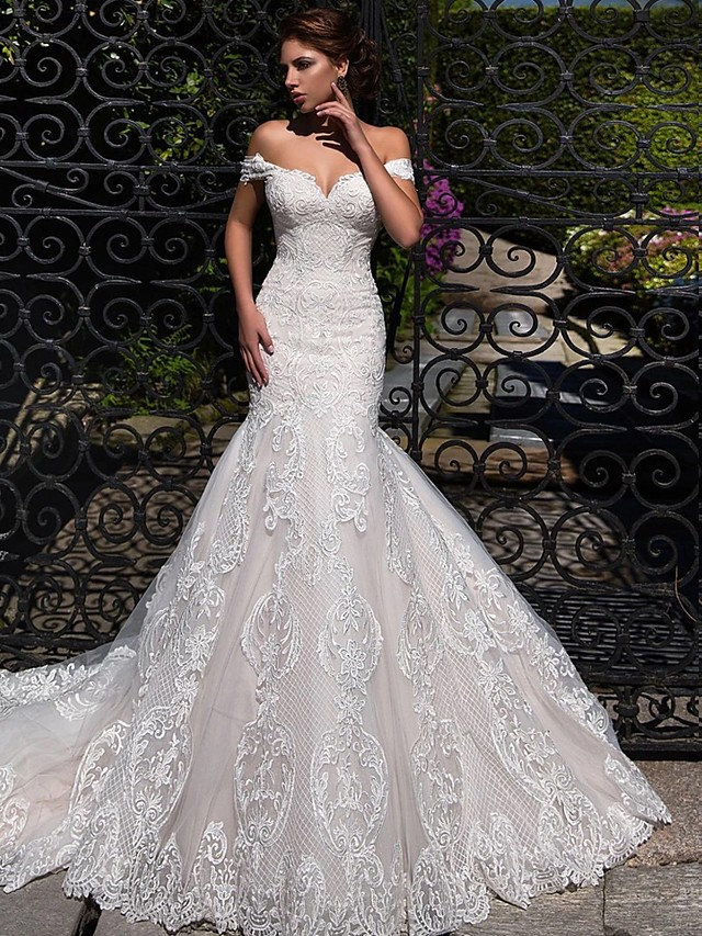 Mermaid / Trumpet Wedding Dresses Off Shoulder Court Train Lace Tulle Short Sleeve Sexy Backless with 2020