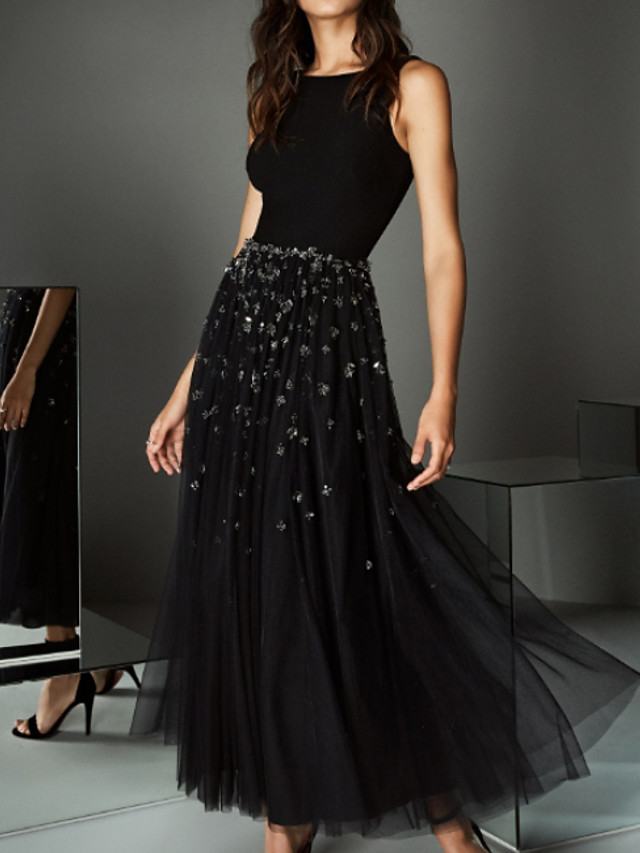 Ball Gown Sparkle Black Wedding Guest Prom Dress Jewel Neck Sleeveless Ankle Length Tulle Stretch Satin with Crystals Beading 2020