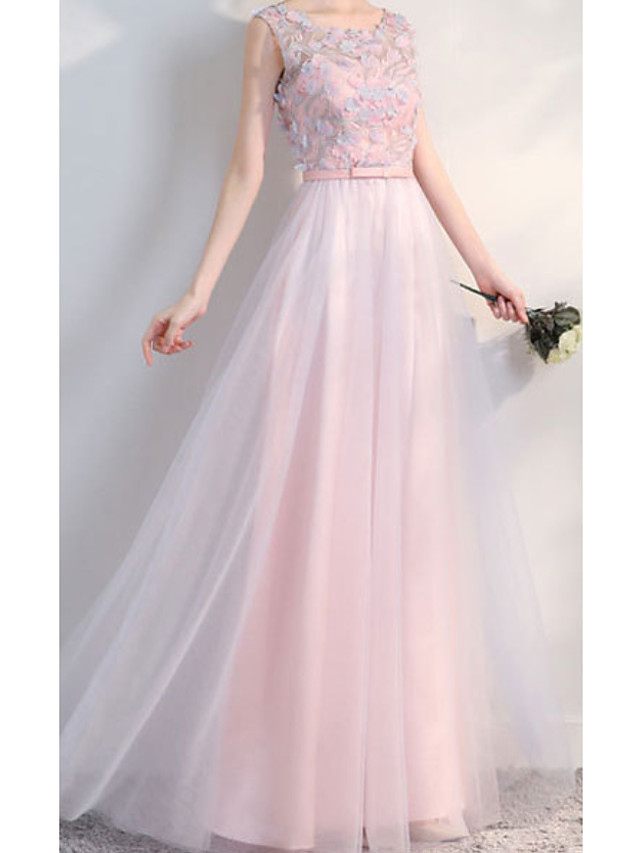 A-Line Jewel Neck Floor Length Chiffon Bridesmaid Dress with Lace / Appliques