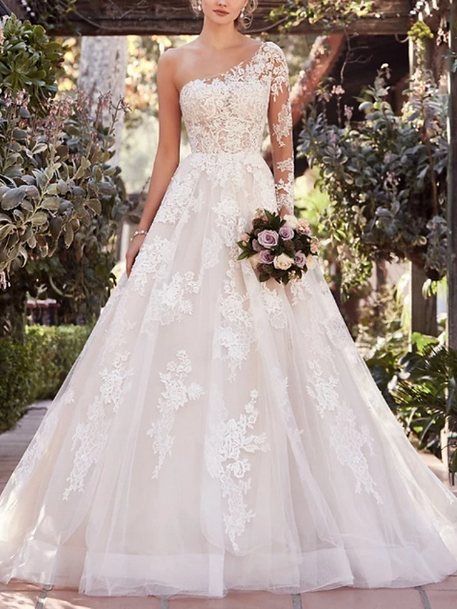 A-Line Wedding Dresses One Shoulder Court Train Lace Tulle Long Sleeve Illusion Sleeve with Embroidery 2020