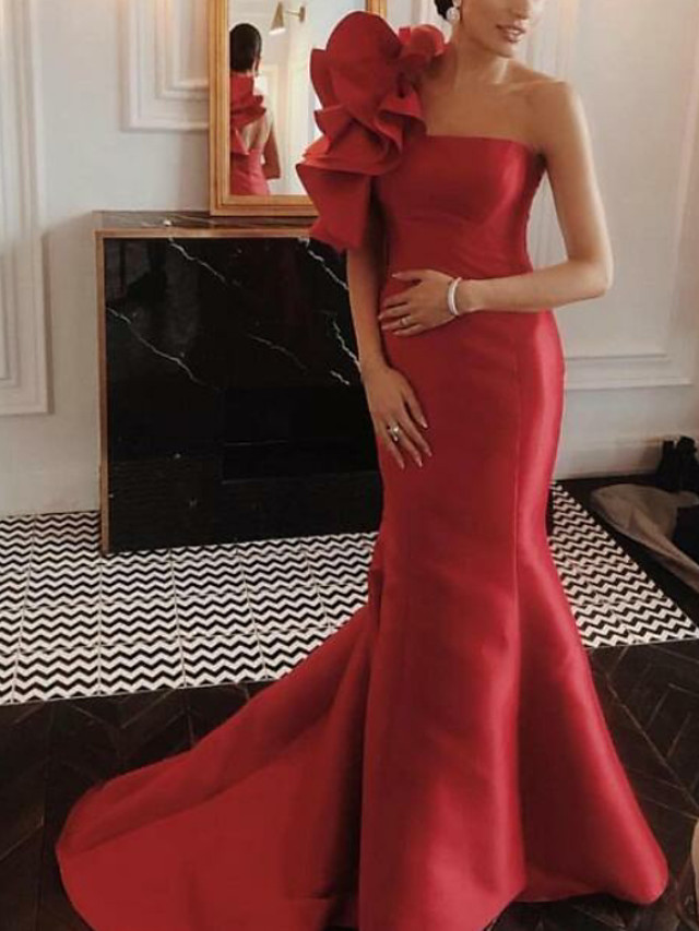 Mermaid / Trumpet Floral Red Engagement Formal Evening Dress One Shoulder Sleeveless Court Train Satin with Ruffles 2020