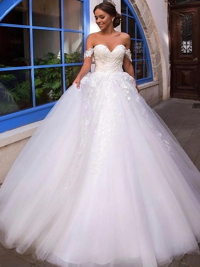 Ball Gown Wedding Dresses Off Shoulder Court Train Lace Tulle Short Sleeve Country Romantic Illusion Detail Backless with Appliques 2021