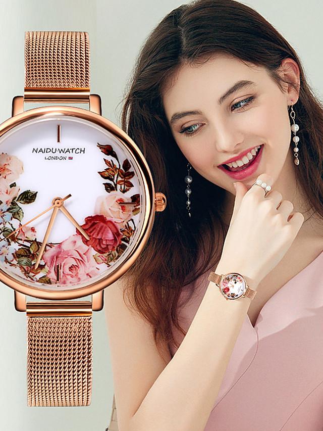 Women's Quartz Watches Quartz Elegant Chronograph Stainless Steel Rose Gold Analog - White Black Blue One Year Battery Life