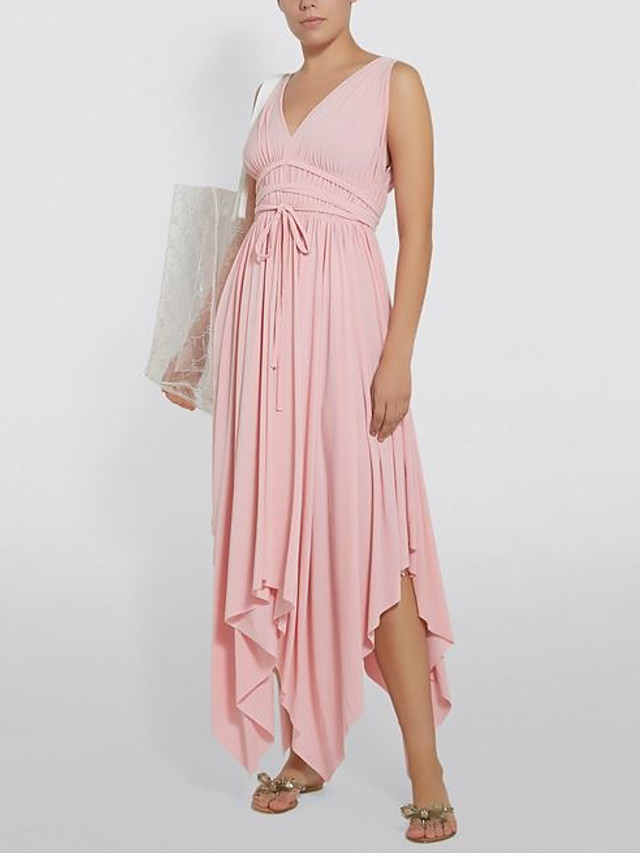 A-Line Elegant Holiday Cocktail Party Dress Plunging Neck Sleeveless Asymmetrical Jersey with Sash / Ribbon Pleats 2021