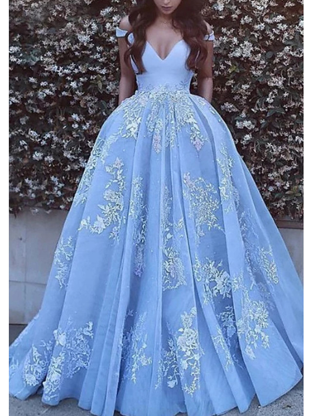 Ball Gown Luxurious Blue Quinceanera Formal Evening Dress Off Shoulder Short Sleeve Chapel Train Tulle with Pleats Appliques 2020