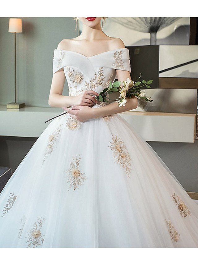 A-Line Wedding Dresses Off Shoulder Cathedral Train Lace Short Sleeve with Lace Insert Appliques 2020