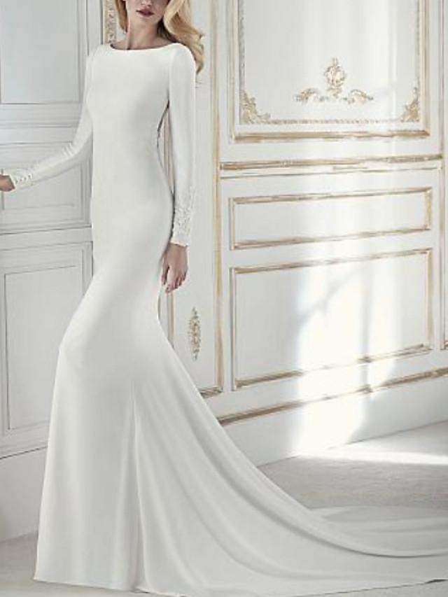 Sheath / Column Wedding Dresses Jewel Neck Court Train Chiffon Long Sleeve with Beading Appliques 2021