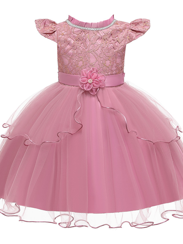 Kids Girls' Active Cute Solid Colored Lace Bow Layered Short Sleeve Knee-length Dress Blushing Pink
