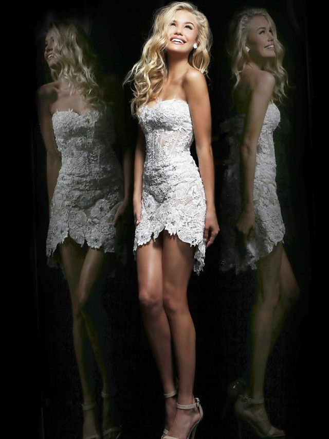 Sheath / Column Sexy Holiday Cocktail Party Dress Strapless Sleeveless Short / Mini Lace Tulle with 2020