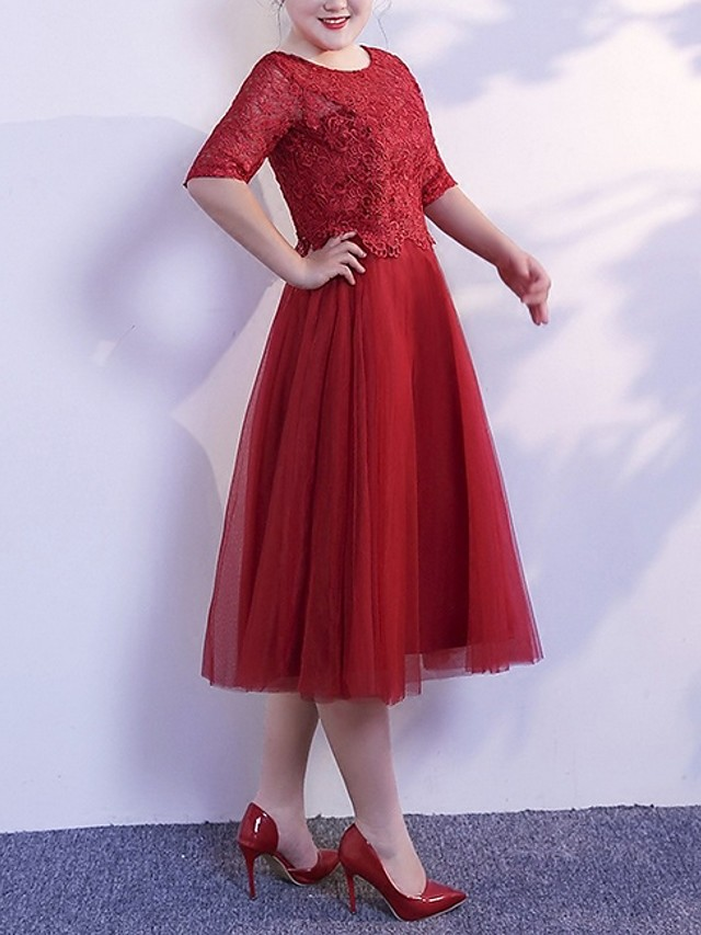 A-Line Jewel Neck Tea Length Polyester Bridesmaid Dress with Lace