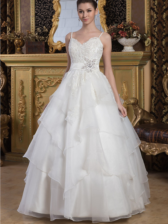 Ball Gown Wedding Dresses V Neck Floor Length Lace Organza Satin Spaghetti Strap with Sashes / Ribbons Beading Cascading Ruffles 2020