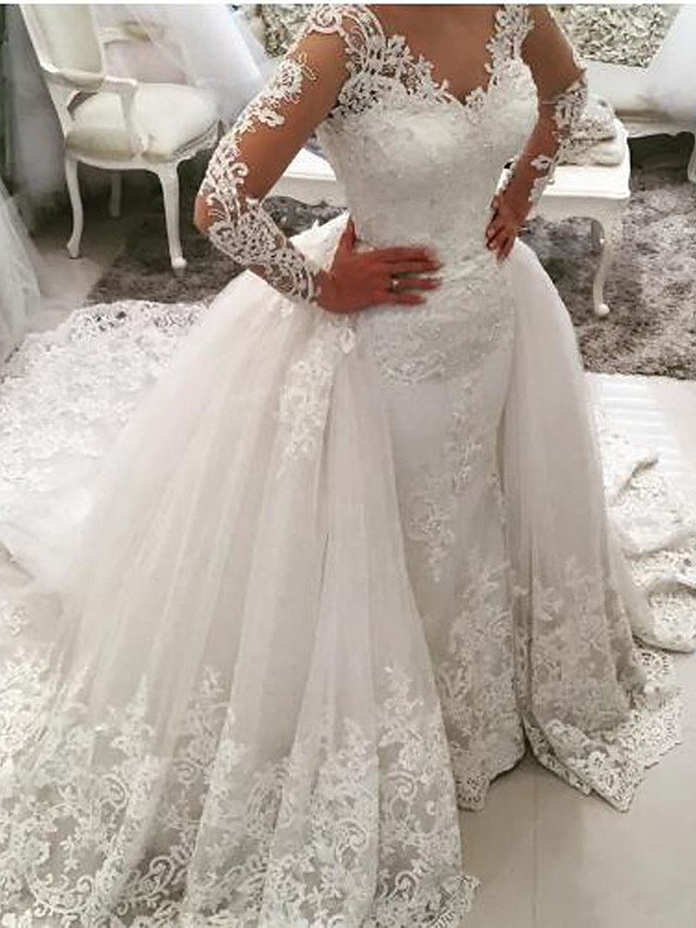 Ball Gown Mermaid / Trumpet Wedding Dresses V Neck Sweep / Brush Train Lace Tulle Lace Over Satin Long Sleeve Glamorous See-Through Illusion Sleeve with Appliques 2020