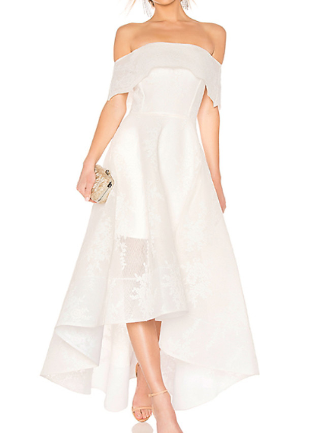 A-Line Wedding Dresses Off Shoulder Asymmetrical Ankle Length Organza Short Sleeve with Embroidery 2020