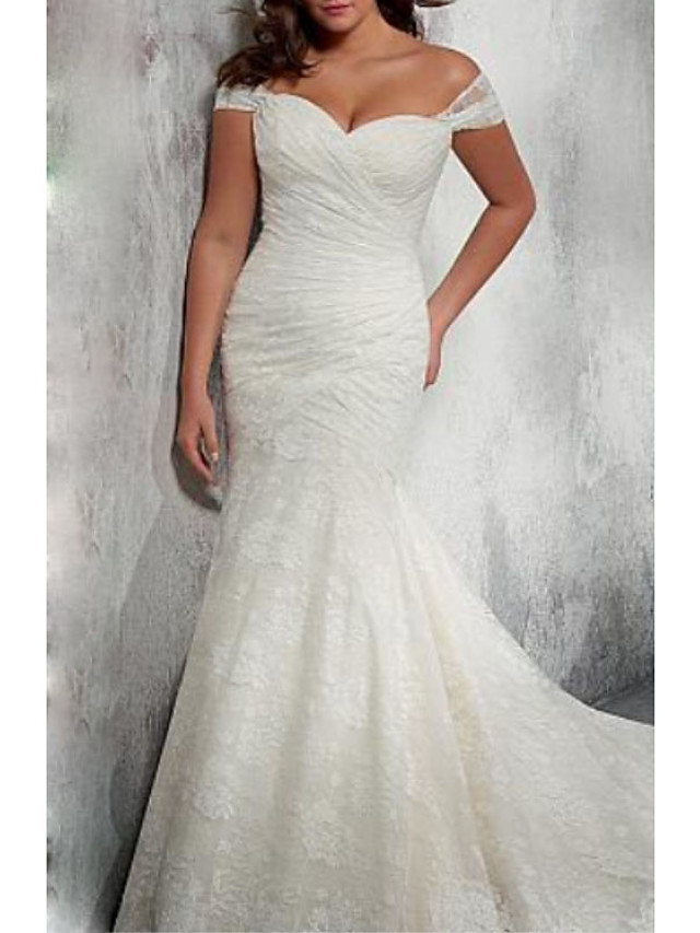 Mermaid / Trumpet Wedding Dresses Off Shoulder Court Train Chiffon Lace Cap Sleeve with Ruched 2020