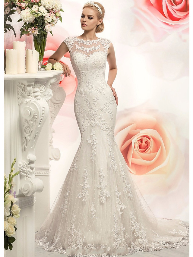 Mermaid / Trumpet Wedding Dresses Jewel Neck Court Train Lace Tulle Cap Sleeve with Appliques 2020