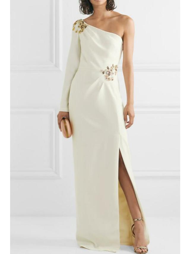 Sheath / Column Elegant Formal Evening Dress One Shoulder Sleeveless Floor Length Jersey with Appliques Split Front 2020
