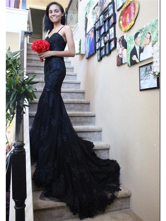 Mermaid / Trumpet Wedding Dresses Sweetheart Neckline Chapel Train Lace Satin Tulle Spaghetti Strap Black with Appliques 2020