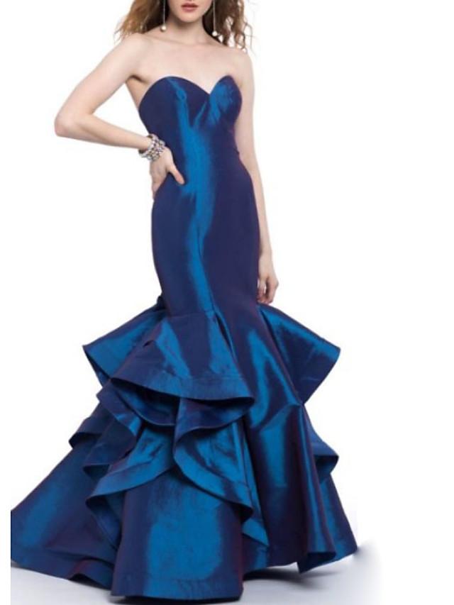 Mermaid / Trumpet Open Back Engagement Formal Evening Dress Sweetheart Neckline Sleeveless Floor Length Satin with Cascading Ruffles 2020