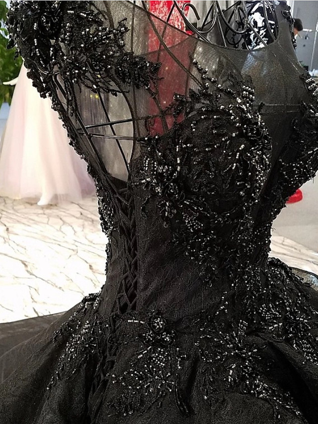 A-Line Wedding Dresses V Neck Floor Length Lace Tulle Regular Straps Formal Black with Beading Lace Insert 2020