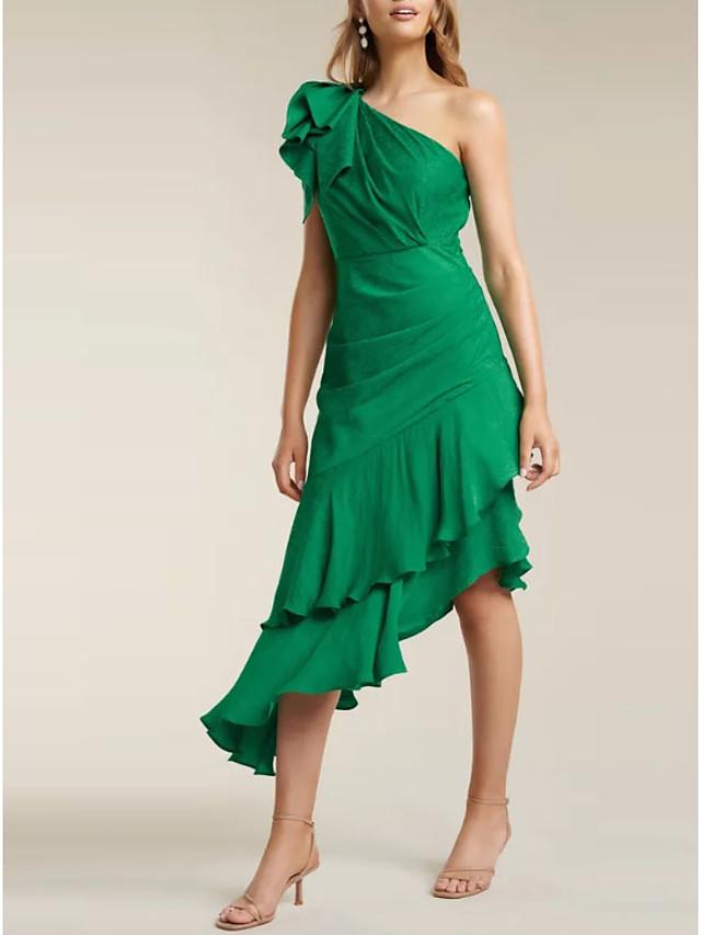 Sheath / Column Elegant Party Wear Wedding Guest Cocktail Party Dress One Shoulder Sleeveless Asymmetrical Satin with Ruffles Tier 2020