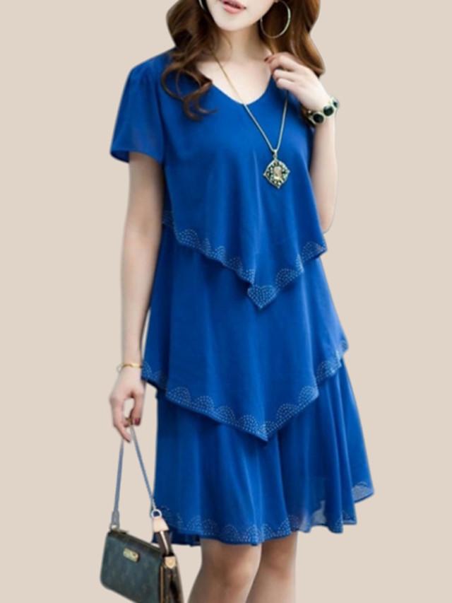 Women's Plus Size Short Mini Dress Blue Chiffon - Short Sleeve Solid Colored Layered Summer Spring & Summer Street chic Daily Weekend Ruffle Black Orange Royal Blue S M L XL XXL XXXL XXXXL XXXXXL