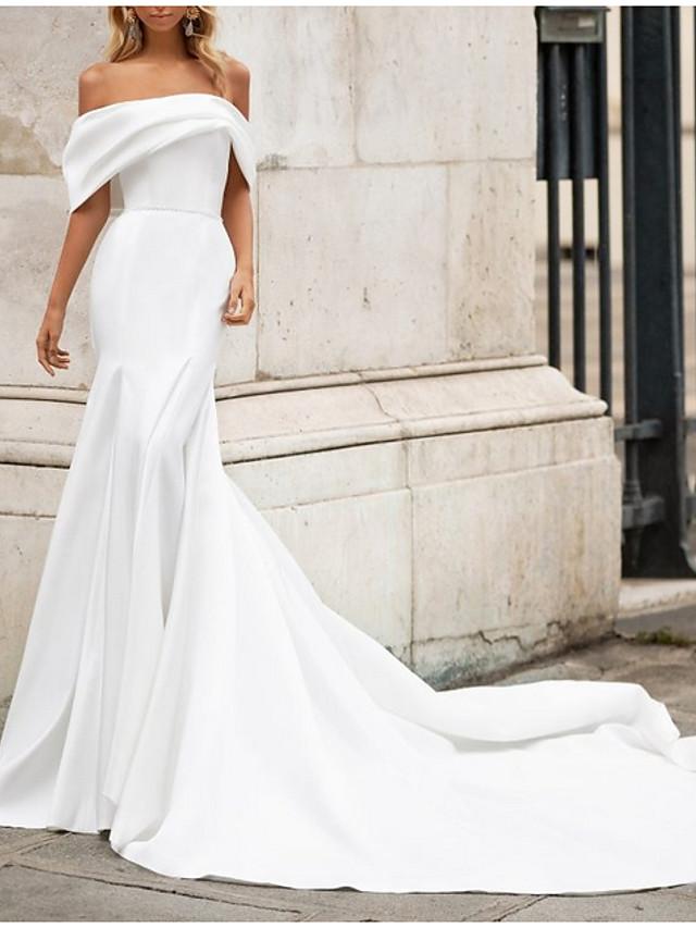 Mermaid / Trumpet Wedding Dresses Off Shoulder Court Train Satin Short Sleeve Romantic Plus Size Modern with Bow(s) 2020