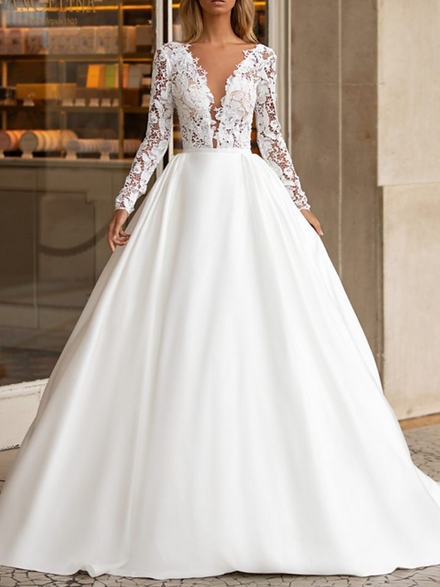 A-Line Wedding Dresses V Neck Sweep / Brush Train Lace Satin Long Sleeve Plus Size with Lace Insert 2020