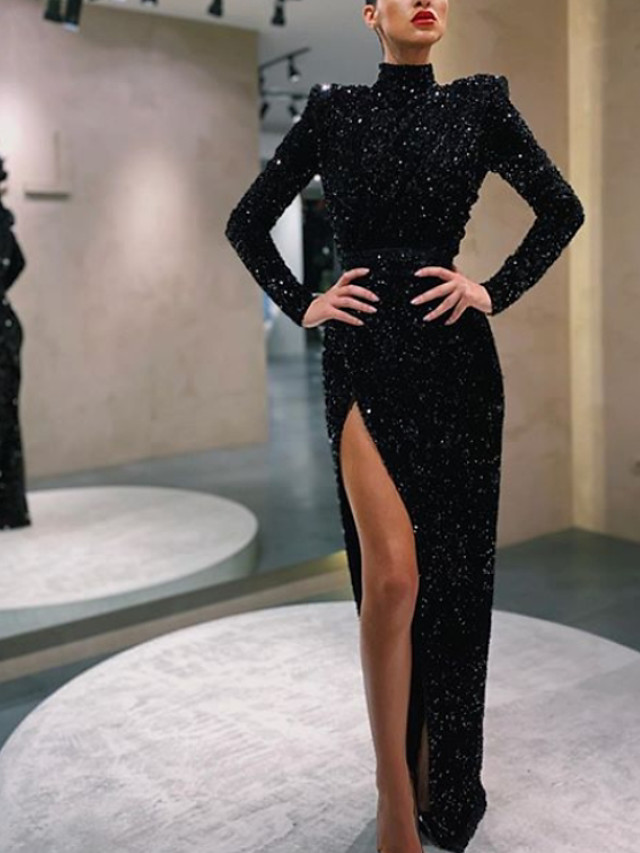 Sheath / Column Sparkle Black Party Wear Formal Evening Dress High Neck Long Sleeve Floor Length Sequined with Sequin Split Front 2020