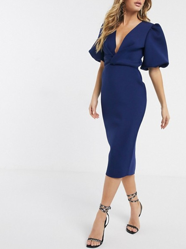 Sheath / Column Blue Party Wear Wedding Guest Cocktail Party Dress V Neck Short Sleeve Tea Length Polyester with Ruched Split 2020
