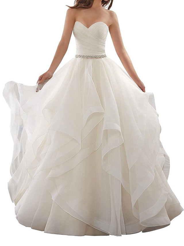 A-Line Wedding Dresses Sweetheart Neckline Chapel Train Organza Strapless Plus Size with Side-Draped 2020