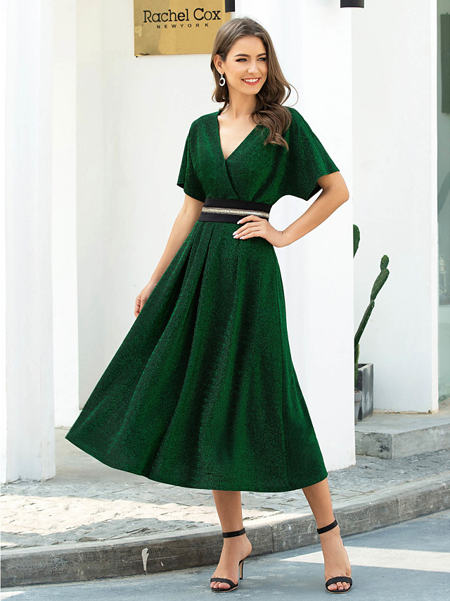 A-Line Elegant Green Wedding Guest Cocktail Party Dress V Neck Short Sleeve Tea Length Nylon Spandex Polyester with Pleats Beading 2020