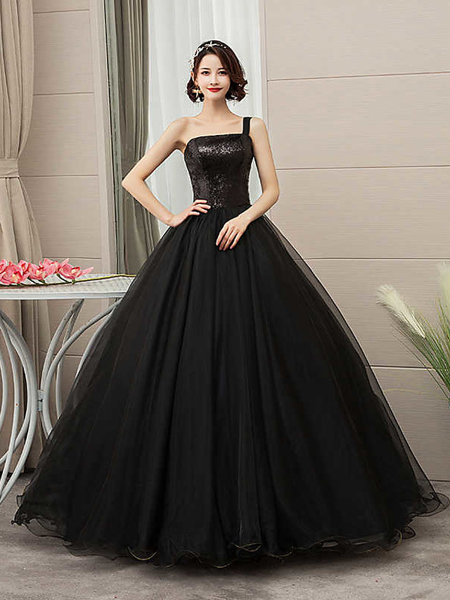 Ball Gown Wedding Dresses One Shoulder Floor Length Tulle Sequined Spaghetti Strap Black with Draping 2020