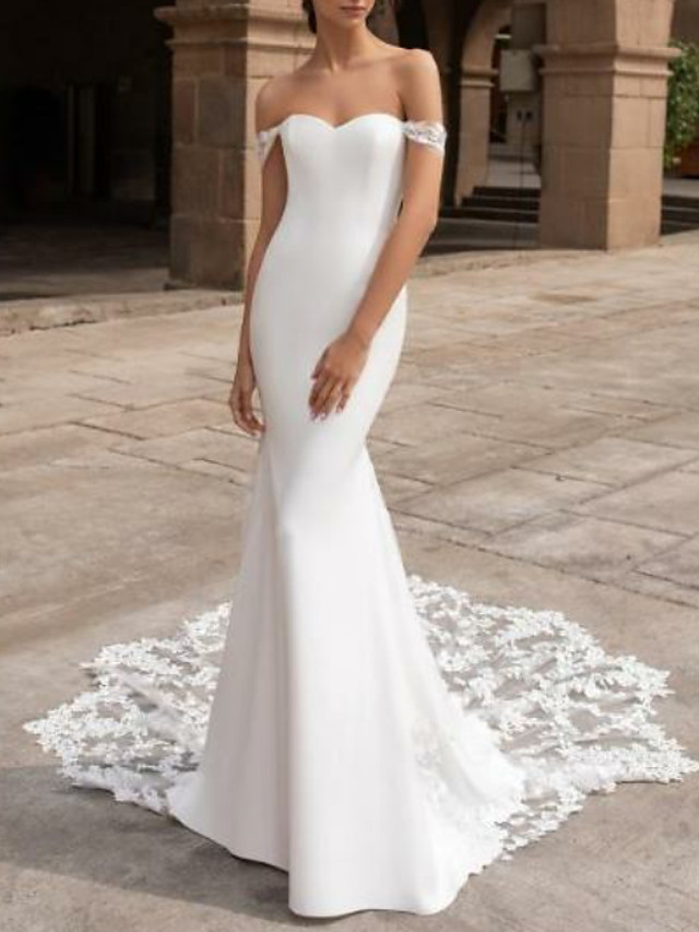 Mermaid / Trumpet Wedding Dresses Off Shoulder Court Train Lace Cap Sleeve Plus Size with Lace Insert 2020