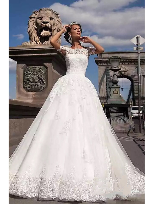 Ball Gown A-Line Wedding Dresses Off Shoulder Court Train Lace Tulle Lace Over Satin Short Sleeve Country Illusion Detail Backless with Appliques 2020
