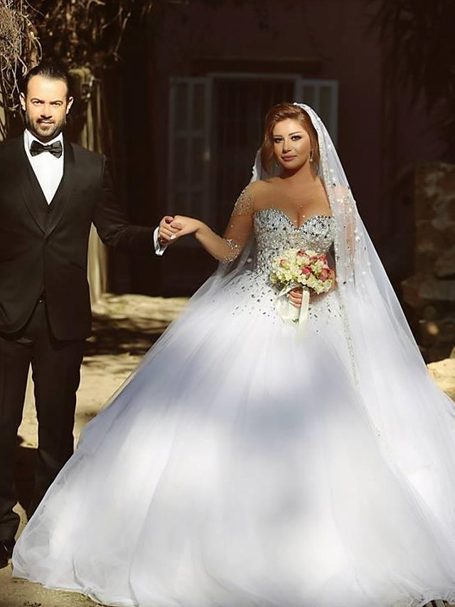Ball Gown Wedding Dresses Jewel Neck Court Train Satin Tulle Long Sleeve See-Through with Crystals Beading 2020 / Sparkle & Shine / Bell Sleeve
