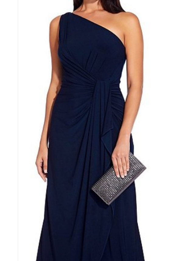 A-Line Mother of the Bride Dress Plus Size One Shoulder Floor Length Jersey Sleeveless with Ruffles Tier Ruching 2020