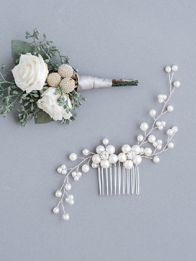 Imitation Pearl / Rhinestone / Alloy Hair Combs with Imitation Pearl / Sparkling Glitter / Floral 1pc Wedding Headpiece
